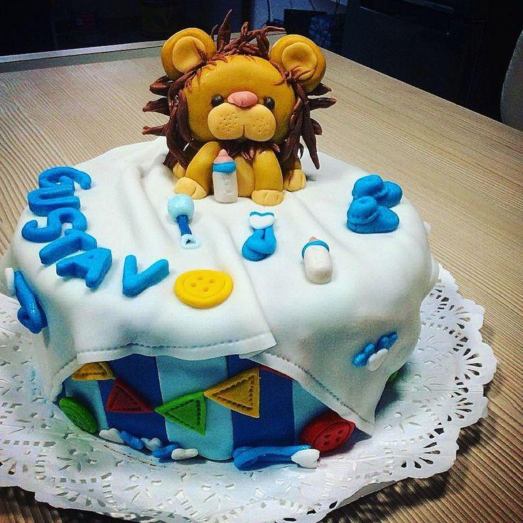 Torta para #babyshower #leon #lion #ConAmorEsMasRico #fondant