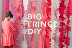 DIY big fringe garland decorations- would love to do this on a wall for a party