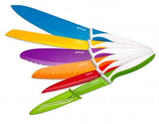 Six-knife set. Nonstick with easy-grip handles. Ends midnight, 4/13/13