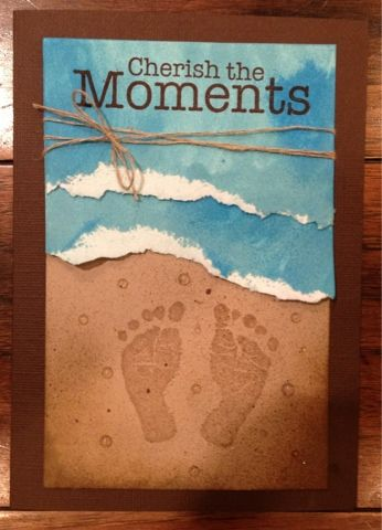 3 Monkeys throwing around some paper.  Beach theme card using baby foot prints stamp.  Too cute!