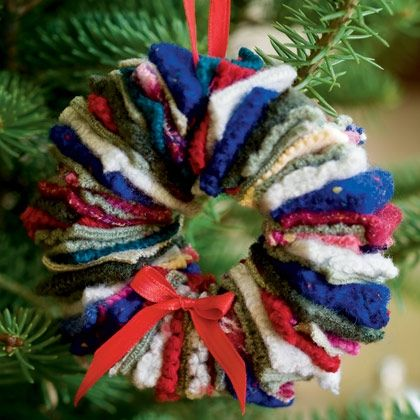 Use old sweaters to fashion this felted wreath ornament.