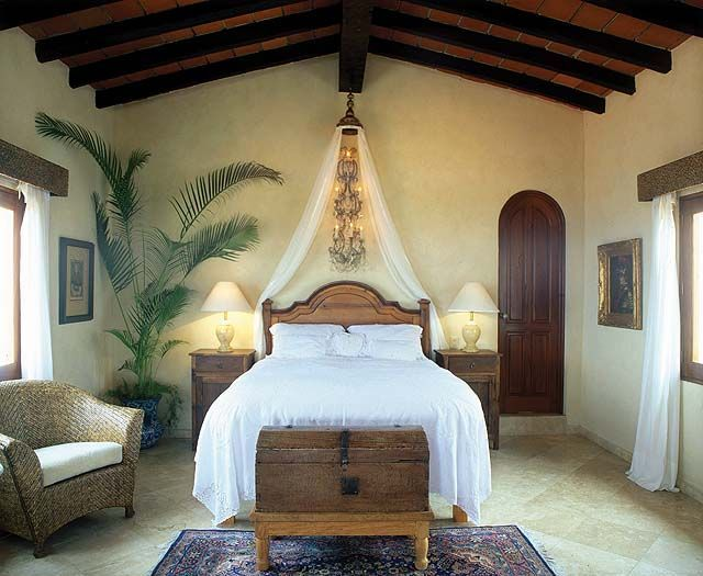 Love These Elements The Beams All The Wood Candles Warm Neutral Walls With Texture Simp Spanish Style Bedroom Spanish Style Decor Mediterranean Home Decor