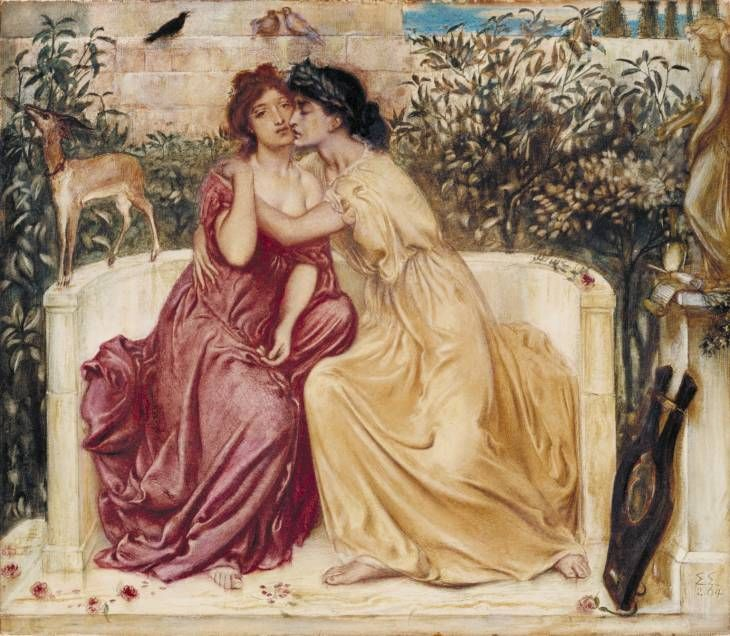 Sappho and Erinna in a Garden at Mytilene - Simeon Solomon 1840-1905 Watercolour on paper. 1864