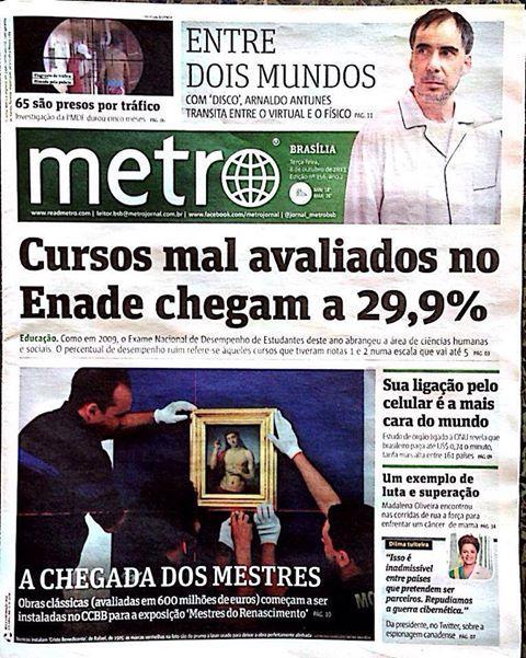 Ancora rassegna stampa.. Capa do Jornal Metro de Brasília. Muito bacana!!!