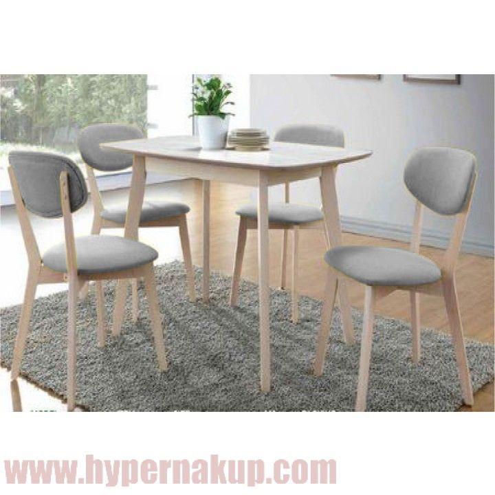 Jedálenský set 1+4, drevo dub+sivá látka, MDF stôl, TAMPY