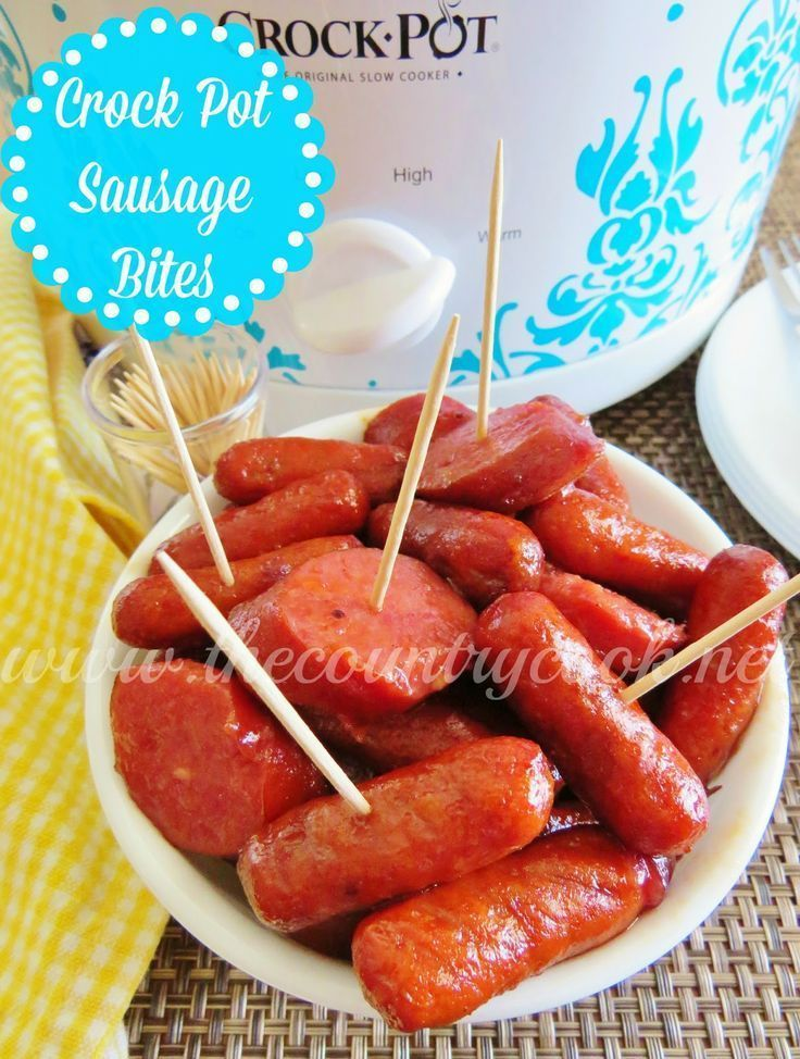 Crock Pot Sausage Bites recipe from The Country Cook. Little Smokies and Kielbasa in a special glaze!