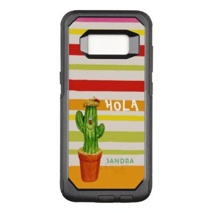 Hola smiling waving cactus warm colorful stripes OtterBox commuter samsung galaxy s8 case - trendy gifts cool gift ideas customize