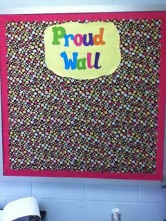 This is a bulletin board in my classroom. I hate having to change out boards over and over throughout the year, so I decided to have a spot where my students can put up anything they are proud of, whether it's a picture, drawing or good grades.