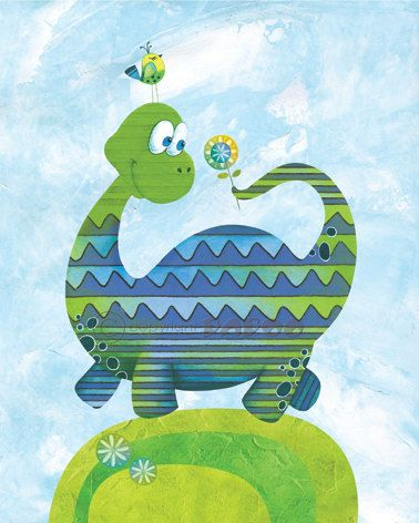 Nursery Art Print, Childrens Art Print, 8x10, Cute Dinosaur, Little Dinosaur, Childrens Wall Print, Baby Room Decor, Nursery Decor