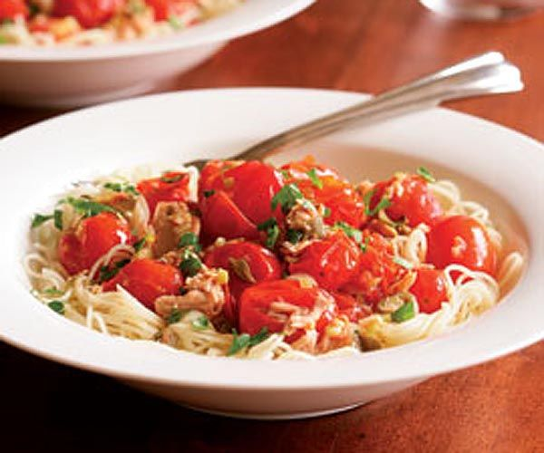 Angel Hair Pasta with Sautéed Cherry Tomatoes, Lemon & Tuna Recipe - Easy fresh summer recipe ! :)