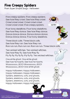 Lyrics poster for Five Creepy Spiders Halloween song from Super Simple Learning. #kidssongs #kindergarten #ESL