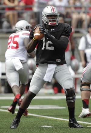 Ohio State quarterback Cardale Jones drops back to pass during Ohio State's NCAA college football spring game Saturday, April 18, 2015, in Columbus, Ohio. (AP Photo/Jay LaPrete)