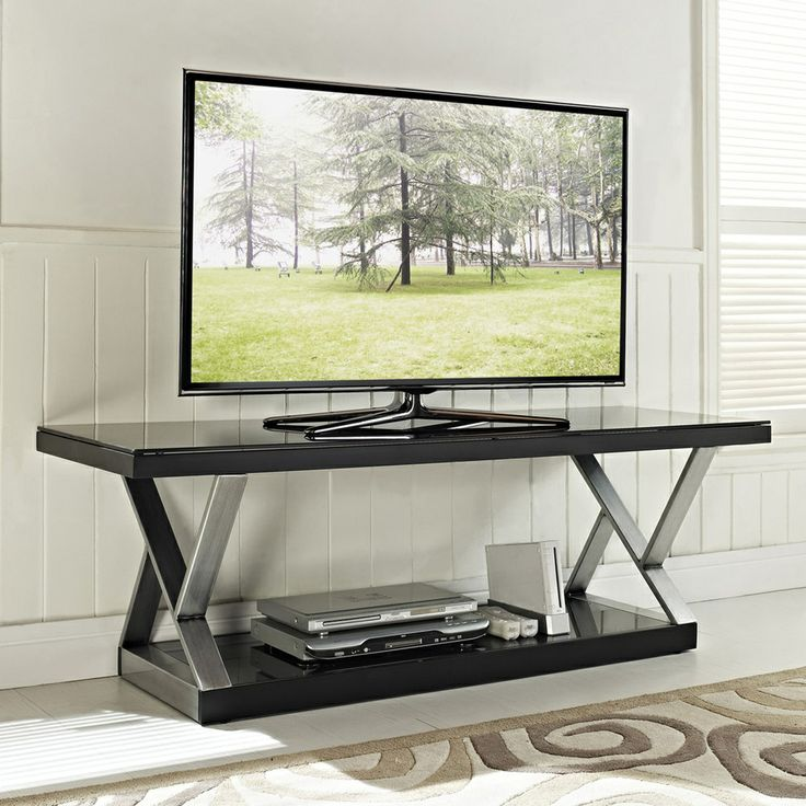 Industrial Black Glass 60-inch TV Stand | Overstock.com