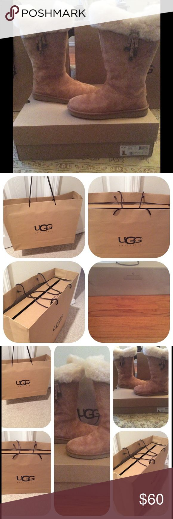 """UGG Shopping Bags and Box Ugg shopping bags and Box. Shopping bag is 16"""" X 2 ft. The box fits size 9 boots dimensions: 19 x 14"""".  Two bags and one box. Bags are $25 each. Buy both for $45. Box is $20. Buy all three for $60 (set price is firm). Will add the 2 authentic UGG cards if you purchase all three. UGG Shoes"""