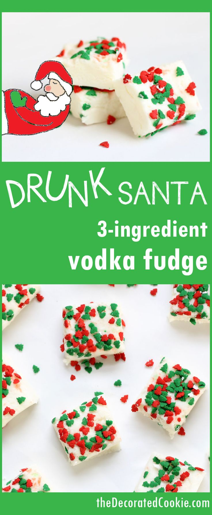 Adult fudge recipe! Drunk Santa fudge for Christmas - 3-ingredient boozy vodka fudge