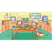 two cute beautiful school children working in kitchen vector kids illustration