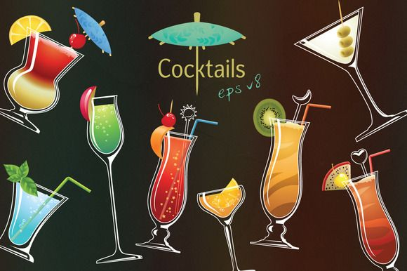 Vector cocktails by GivArt on @creativemarket