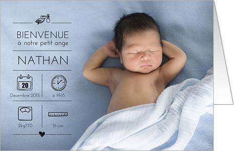Faire-part de naissance original garçon                                                                                                                                                                                 Plus