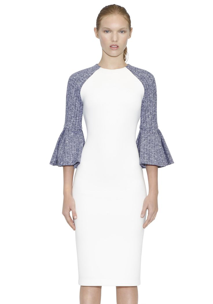 BY JOHNNY  - Box Jet Fitted Midi Dress In White With Navy Marle Flounce Sleeves
