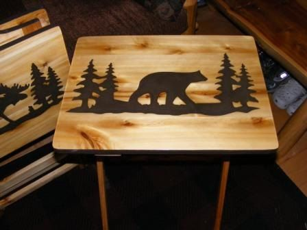 Set of Two Wood TV Tray tables and Rack Moose and Bear Hand Made Design Rustic Cabin decor