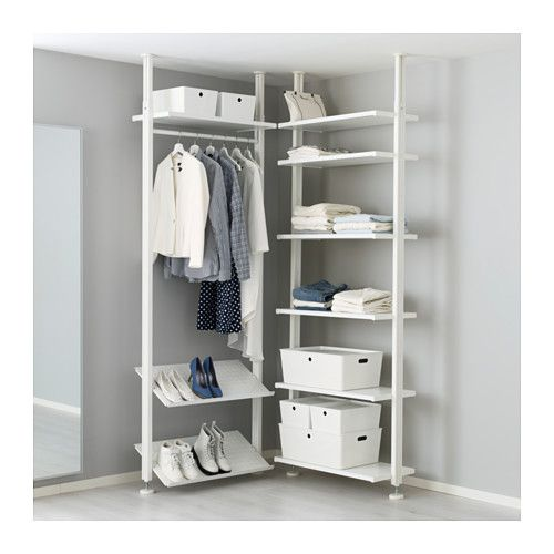 IKEA - ELVARLI, 2 section shelving unit, You can always adapt or complete this open storage solution as needed. Maybe the combination we've suggested is perfect for you, or you can easily create your own.Adjustable shelves and clothes rail make it easy for you to customize the space according to your needs.Adjustable shoe shelves make it easy to customize the space according to your needs.You choose if you want to place the open storage solution against a wall or use it as a room divider…