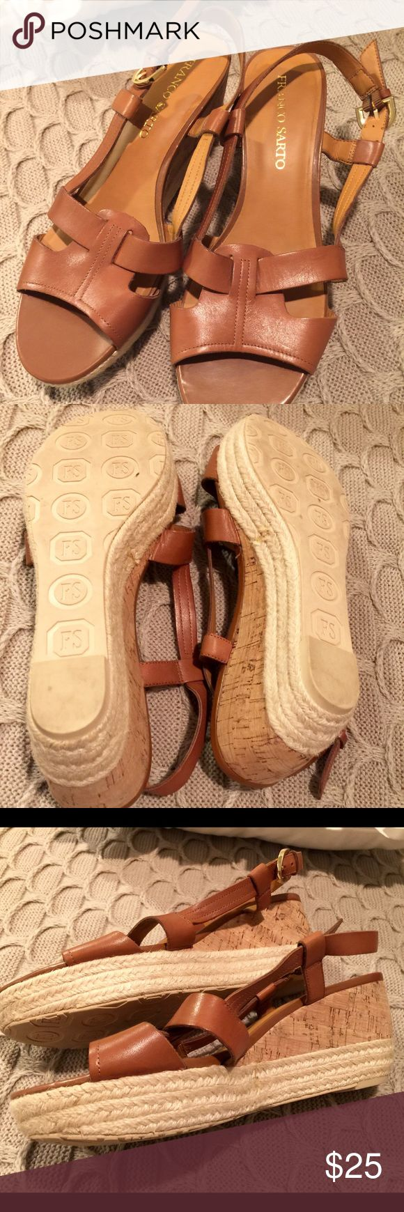 FRANCO SARTO chestnut/ beige espadrilles wedges Franco Sarto chestnut/ beige espadrille wedges. Gently worn , super comfortable. Size 10. Pet and smoke free environment. Franco Sarto Shoes Wedges