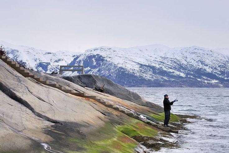 Ved Hellåga rasteplass ved Sjona i Rana, er det tilrettelagt for trygg tilgang til sjøen gjennom trapper og gangstier.    Foto: Steinar Skaar