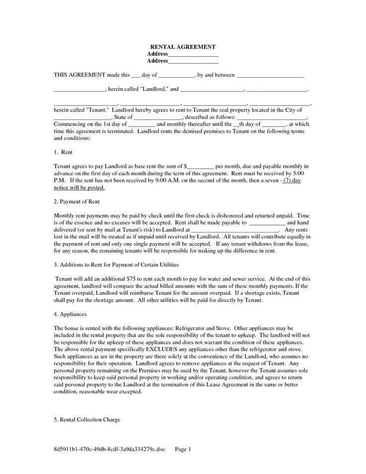 Sample Rental Agreement Blank Rental Agreement Template Rental