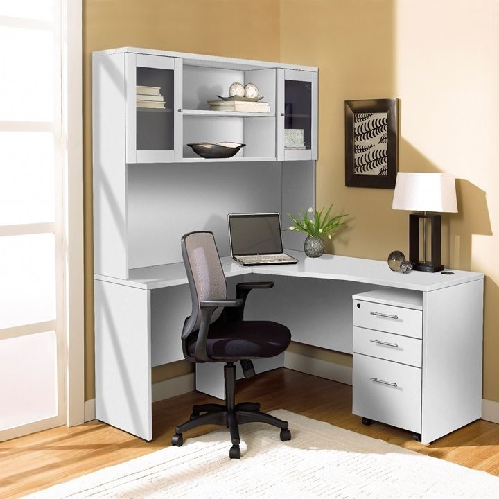 jesper office corner l shaped desk with hutch and mobile pedestal - Jesper Office