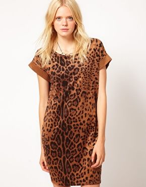 Just Female Jersey Leopard T Shirt Dress