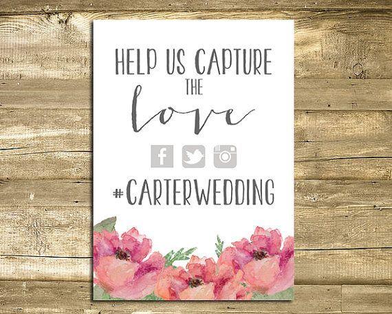 funny wedding signs | Wedding Hashtag Sign Digital Printable 5x7 by FarmhousePrintables, $7 ...