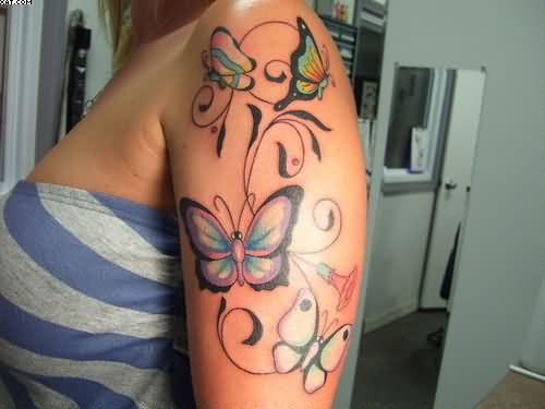 26 best star upper arm tattoos for women images on pinterest upper arm star tattoos for women black stars vine tattoos on upper arm urmus Images