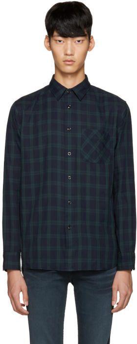 Rag & Bone Navy and Green Plaid Shirt
