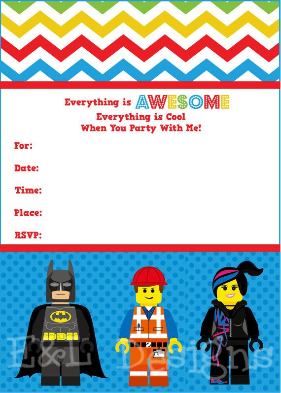 200 best images about lego party on pinterest | lego movie party, Party invitations
