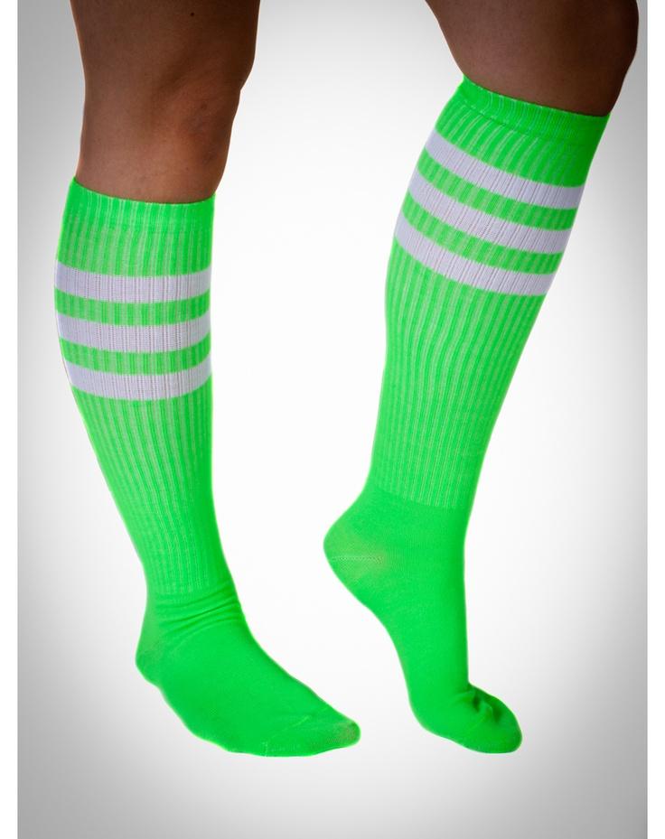 Neon Green with White Stripe Knee High Socks $5.99