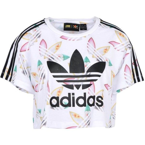 Adidas Originals By Pharrell Williams T-shirt ($37) ❤ liked on Polyvore featuring tops, t-shirts, adidas, crop top, white, logo t shirts, adidas originals t shirt, crop tee, white jersey and jersey crop top