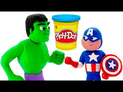 HULK VS CAPTAIN AMERICA BATMAN SPIDERMAN PLAY DOH STOP MOTION VIDEOS SUPERHEROES PRANK VIDEOS - YouTube