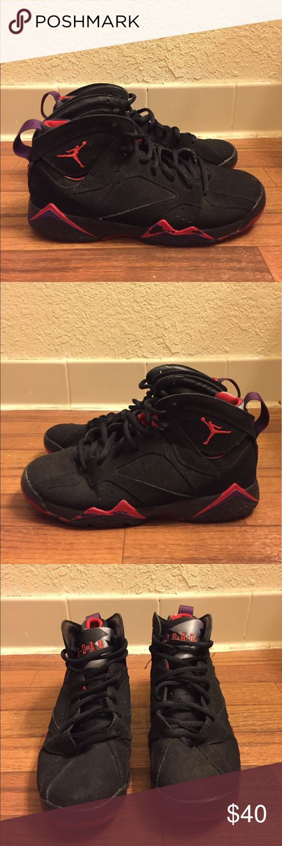 Nike Air Jordan 7 VII Retro GS Raptor 304774-018 Item Details: • Used: Left shoe toe cap & outsole is slightly separated. There are minor paint scraping on the shoes (Please view photos). Otherwise, it's in good condition. • Size: 6Y • Style #: 304774-018 • Color: Black/Tr Rd-Drk Chrcl-Clb Prpl  Shipping & Handling: • Item will ship same or next business day after completed payment is received. This excludes weekends.  Feel free to ask me any questions. Jordan Shoes Sneakers