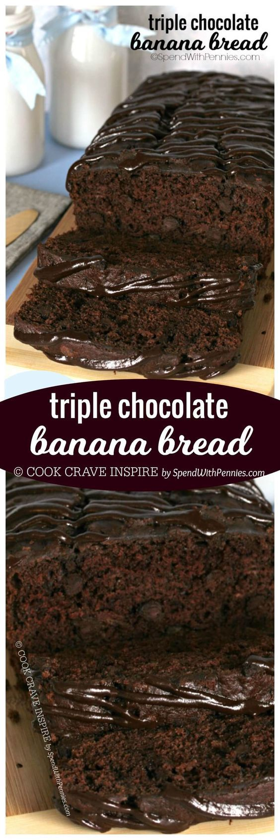 If you love chocolate, you're definitely going to LOVE this Triple Chocolate Banana Bread! With a triple load of chocolate, it's deliciously decadent and easy to make!