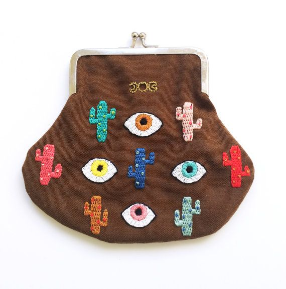 Mystery of The Colorful Cactusland and the eyes Hand Embroidered Coin Purse
