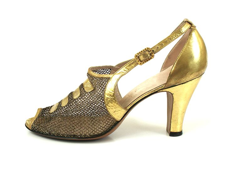 Gold Leather and Mesh Evening Shoes, USA, 1930's