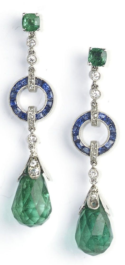 A fine pair of Edwardian emerald, diamond and sapphire drop earrings, circa…