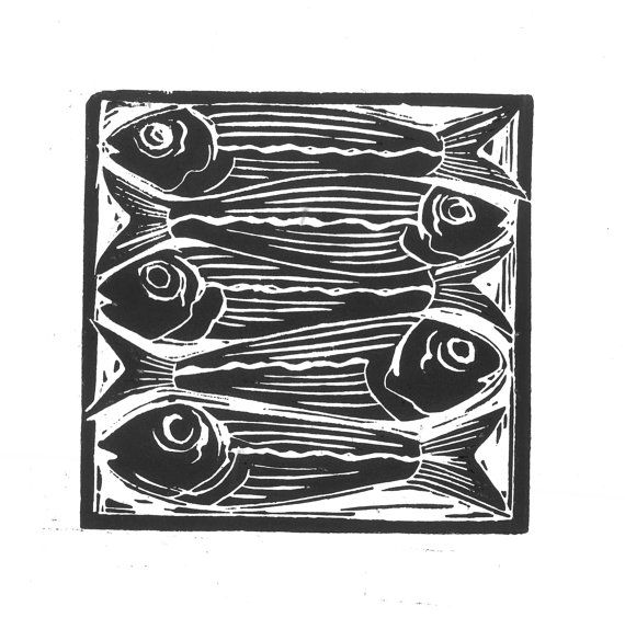 Sardines: food theme lino cut prints, available in black and white, or hand painted with water colour