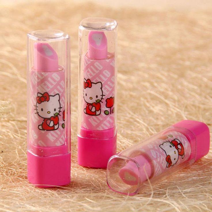 5pcs/lot Cute Hello Kitty Lipstick Eraser Kawaii fruit  pencil erasers for kids korean stationery canetas office school supply