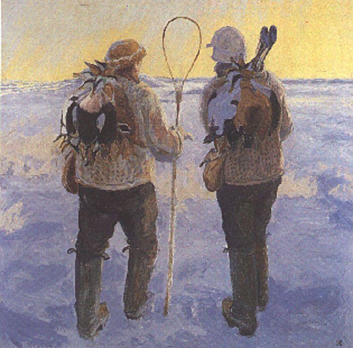 Johannes Larsen: Edderfuglejægerne 1923