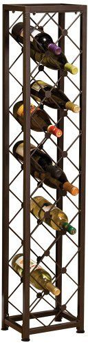 Criss Cross Iron 15-Bottle Wine Tower by Universal Lighting and Decor. $89.91. Tall iron rack with brown metal finish features a criss-cross fence-like design wine holder. Holds up to 15 bottles with additional room for storing or hanging small accessories. Slender design allows it to fit into most any available space.. Save 33% Off!