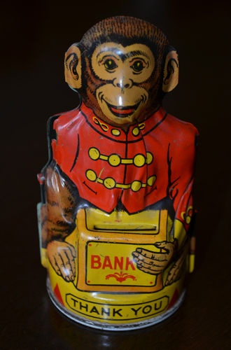 Vintage Chein & Co Mechanical Monkey tin bank Circus