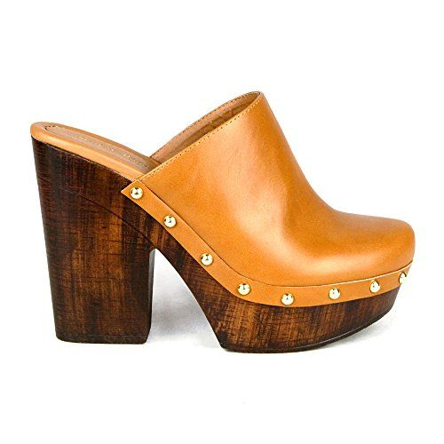 Mark and Maddux ANTONIO-06 Wood Effect Platform Women's Clogs in Cognac