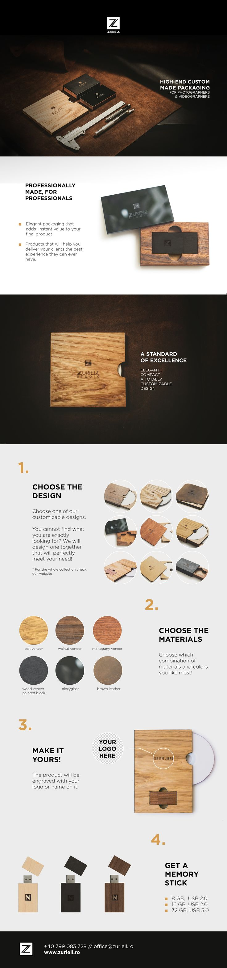 Photography / Videography Packaging | Elegant and compact | Leather, Wood | CD cases | USB Flash Drives & Cases | Brand Identity