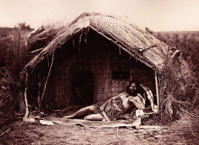 """Maori Whare"" Tahau follower of Te Kooti, Josiah Martin (1843 – 1916) after Herbert Deveril. Albumen Photograph. (Michael Evans, France)"